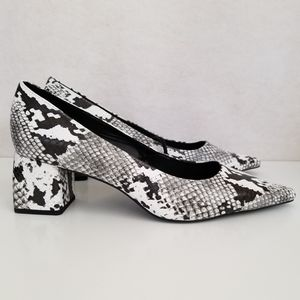 NEW Zara Trafaluc Python Snakeskin Block Heels